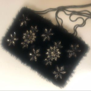 Charles and Keith Furry Embellished Sling Bag